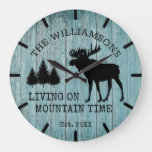 Rustic Country Wood Living on Mountain Time Moose Large Clock