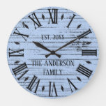Rustic Distressed Wood Family Name Roman Numeral Large Clock