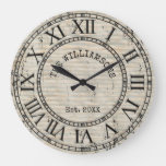 Rustic Vintage Antique Family Name Roman Numeral Large Clock