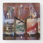 Vintage Milk  Bottles By Gone Times Square Wall Clock