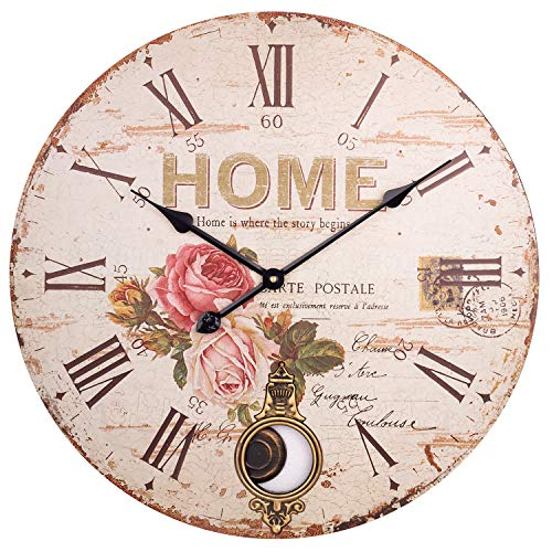 Large Pendulum Wall Clock, Rustic Paris Rose Decorative Grandfather Clock with Roman Numerals, Silent Wooden Indoor Swinging Clocks for Home, Living Room, Dining Room, Farmhouse, Restaurant – 24 Inch
