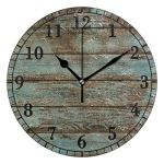 YiGee Vintage Retro Rustic Wood Quiet Wall Clock – 10 Inch Quality Quartz Battery Operated Round Analog Silent Easy to Read Home/Office/School Clock