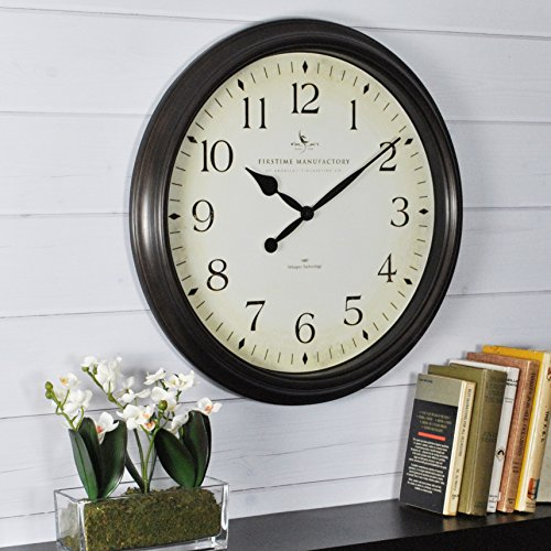 FirsTime & Co. Avery Whisper Wall Clock, 20″, Oil Rubbed Bronze