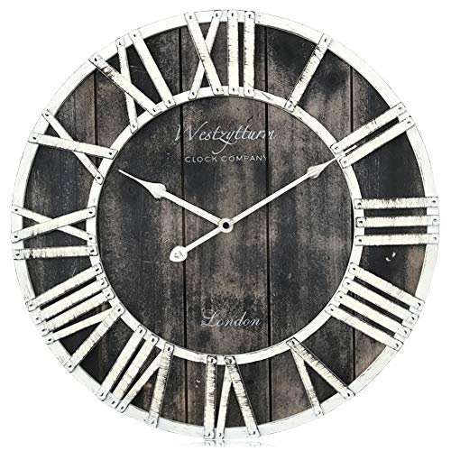 Westzytturm Wood Clock 18 inches Large Farmhouse Wooden Wall Clock Rustic Decorative Antique Battery Operated Non Ticking Quartz Round Big Clocks for Living Room Bedrooms Home Kitchen Office(Black)