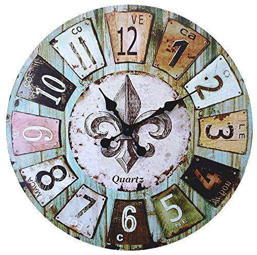 LuLu Decor, Old time French Country Style Rustic Round Wood Wall Clock 23″, Large Roman Numerals (Old Time)