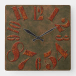 Modern Rustic Rusty Metal Large Numbers Square Wall Clock