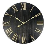 GoodTime 24 Inch Large Rustic Wooden Wall Clock – Oversize Farmhouse Roman Numerals Silent Clock – Big Wooden Wall Clocks for Indoor, Living Room, Bedroom, Kitchen, Dining Room Decor (001)
