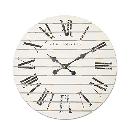 Zman Clan – White Shiplap Wooden Clock – Vintage Farmhouse Clock – Rustic Decor – Roman Numerals – Distressed Design – Battery Operated – Silent – Mantle Centerpiece – Matte Black Hardware – 22 inches