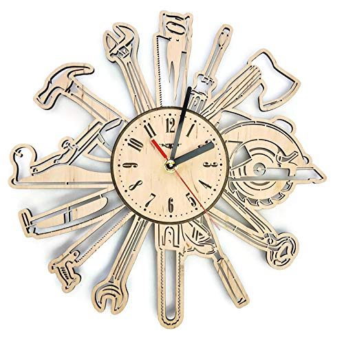 Tools Сarpenter Silent Wood Wall Clock – Original Home Garage Office Living Room Bedroom Kitchen Decor – Best Gift For Friends Partners Father Husband Men – Unique Wall Art Design – Size 12 Inch