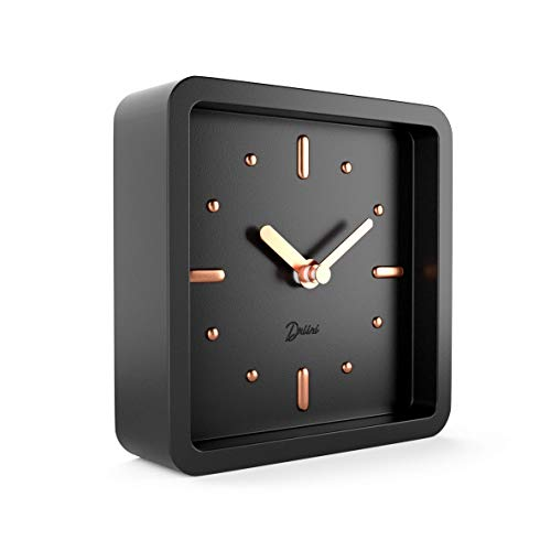Driini Modern Mid Century Desk and Table Analog Clock (Black Rose Gold) – Battery Operated with Silent Sweep Movement – Small Square Desktop Clocks for Mantel, Nightstand, Office, or Bedrooms.