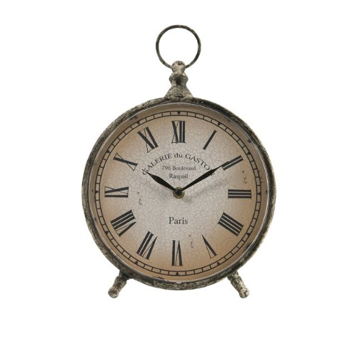 CC Home Furnishings 11.5″ Distressed Over-Sized Pocket Watch Style Roman Numeral Desk Clock