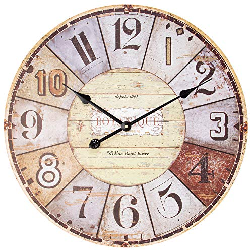 Adecor Wooden Wall Clock, Large Vintage Paris Rustic Decorative Clock, Silent Hanging Clock for Living Room, Bedroom, Farmhouse, Apartment, School, Hotel – 24 Inch