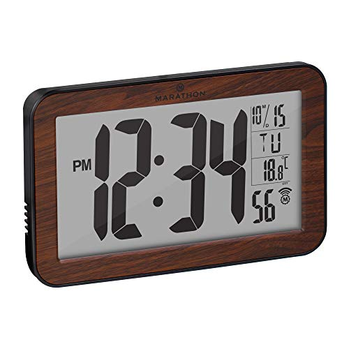 Marathon Commercial Grade Panoramic Atomic Wall Clock with Table Stand, Date, and Temperature – Self Setting/Self Adjusting – Batteries Included – CL030033WD (Wood Finish)