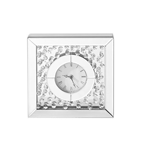 Decor Central Crystal Square Table Clock, 10″, Clear Finish