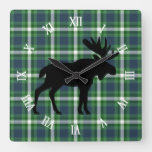 Classic Green Dark Blue Lumberjack Plaid Pattern Square Wall Clock