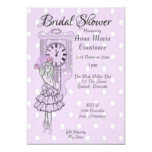 Cute Rustic Lilac Dots Ballerina Bridal Shower Invitation