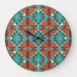Red Orange Turquoise Teal Eclectic Ethnic Art Large Clock