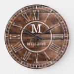 Rustic Brown Wood Family Name Monogram Large Clock