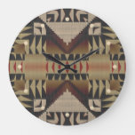 Rustic Taupe Brown Red Black Eclectic Ethnic Art Large Clock