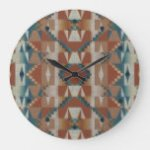 Rustic Taupe Brown Teal Blue Gray Art Pattern Large Clock