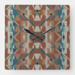 Rustic Taupe Brown Teal Blue Gray Art Pattern Square Wall Clock