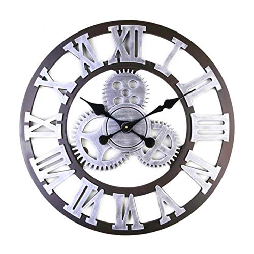 BEAMNOVA Large Wall Clock Decorative for Living Room Decor Steampunk Farmhouse Rustic Vintage Wall Décor Timer, Silver Roman 12 Inch