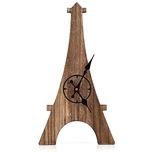 Emfogo Wall Clock Eiffel Tower Silent Clock Wall Decor Rustic Wood Non-Ticking Battery Operated Clock for Kitchen Livingroom Bedroom 16.7 in