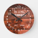 Rustic Brown Wood Wedding Anniversary Round Clock