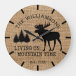 Rustic Country Burlap Living Mountain Time Moose Large Clock