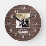Rustic Wood Personalized Photo Wedding Anniversary Round Clock