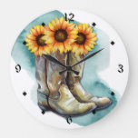 Watercolor Sunflower Cowgirl Boots Large Clock