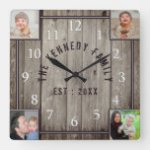 4 Photo Collage Family Name Rustic Farmhouse Square Wall Clock