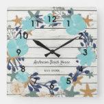 Beach Flowers and Starfish Rustic Square Wall Clock
