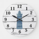 Lighthouse Nautical Blue Shiplap Rustic Decor Large Clock