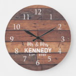 Personalized Rustic Wood Plank Farmhouse Mr & Mrs Large Clock