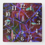 Realm of Mesmerising Foliage in Dark Mauve Square Wall Clock