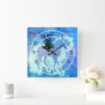 Rustic Blue Green Unicorn Faux Wood Decorative Square Wall Clock