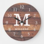 Rustic Brown Reclaimed Wood Family Name Monogram Large Clock