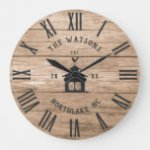 Rustic Modern Farmhouse Custom Family Name Vintage Large Clock
