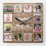 12 Photo Collage Rustic Barn Wood Grandkids Quote  Square Wall Clock