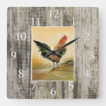 Country Rooster Rustic Wood Farmhouse Square Wall Clock