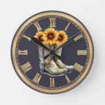 Cowboy Boots & Sunflowers Round Clock