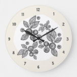 Elegant Country Farmhouse Berries Creamy Large Clock