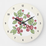 Elegant Country Farmhouse Red Berries Large Clock