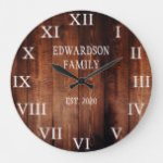 Rustic barn wood family name country large clock