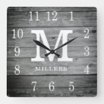 Rustic Personalized Grey Wood Farmhouse Monogram Square Wall Clock