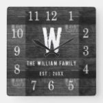Rustic Personalized Wood Monogrammed Family Name Square Wall Clock
