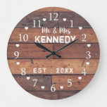 Rustic Wood Planks Mr And Mrs Wedding Anniversary Large Clock