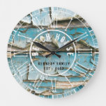Turquoise Peeling Wood Beach House  Roman Numeral Large Clock