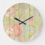 Wooden Floral Rustic Large Clock